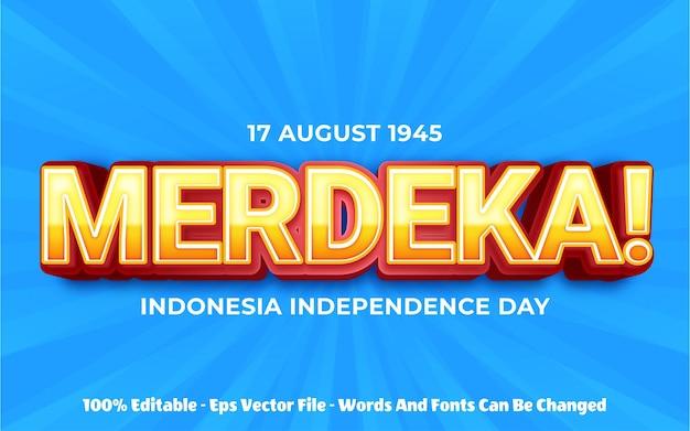 Effet de texte modifiable illustrations de style merdeka 3d