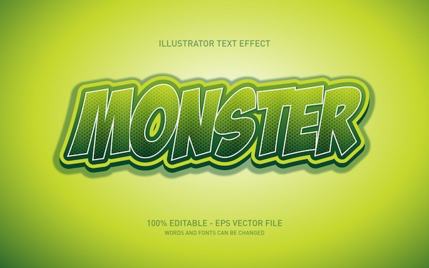 Effet de texte modifiable, illustrations de style monstre vert
