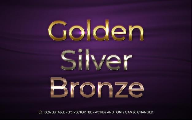 Effet de texte modifiable, illustrations de style or, argent et bronze