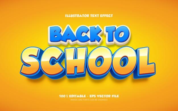 Effet de texte modifiable, illustrations de style retour à l'école
