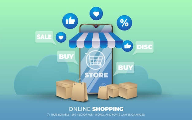 Effet de texte modifiable, illustrations de style shopping en ligne