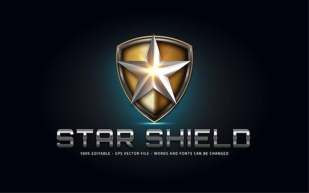Effet de texte modifiable, illustrations de style star shield