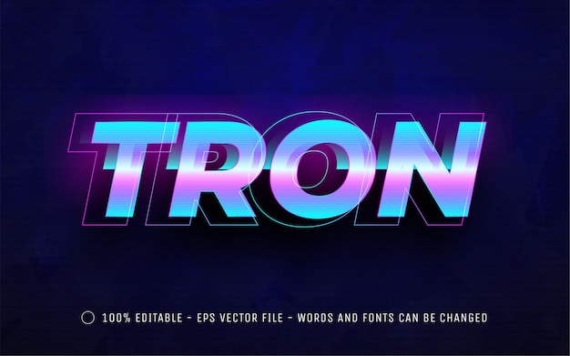 Effet de texte modifiable, illustrations de style tron