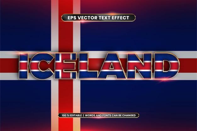Effet de texte modifiable - islande avec son drapeau national