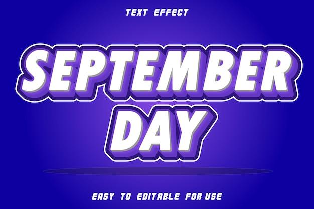 Effet de texte modifiable jour de septembre perple