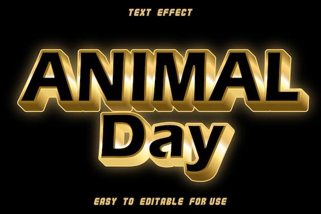 Effet de texte modifiable de la journée des animaux en relief style or