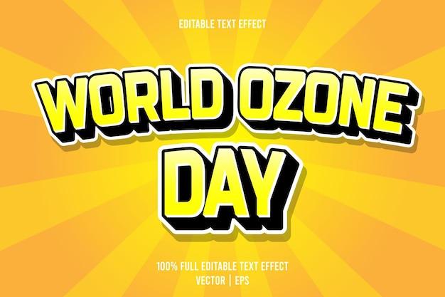 Effet de texte modifiable de la journée mondiale de l'ozone style de dessin animé en relief en 3 dimensions