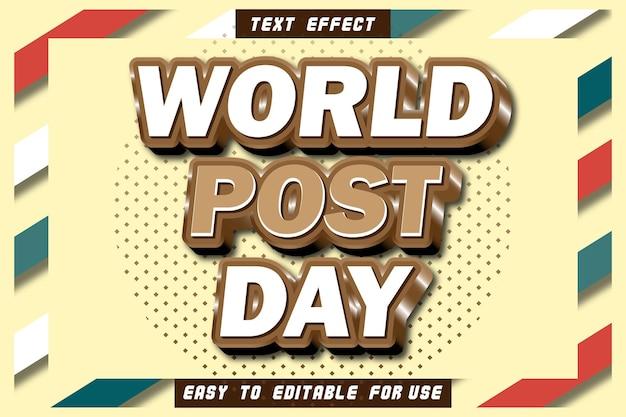Effet de texte modifiable de la journée mondiale de la poste gaufrer le style vintage