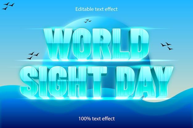 Effet de texte modifiable de la journée mondiale de la vue rétro avec style cartoon