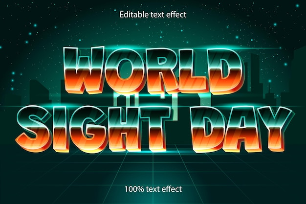 Effet de texte modifiable de la journée mondiale de la vue rétro avec un style moderne