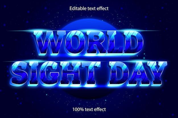 Effet de texte modifiable de la journée mondiale de la vue