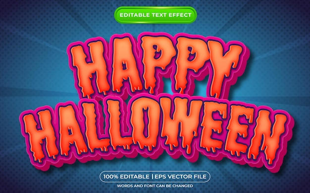Effet de texte modifiable joyeux halloween style de texte effrayant
