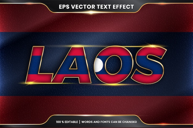 Effet de texte modifiable - laos avec son drapeau national