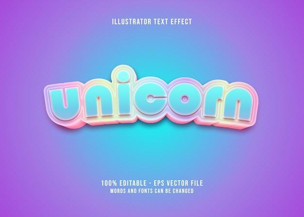 Effet de texte modifiable licorne colorée