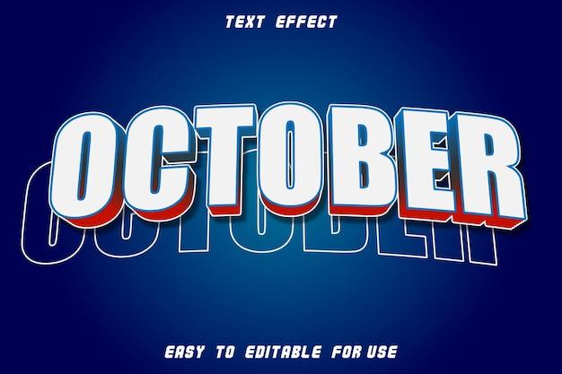 Effet de texte modifiable ligne d'octobre