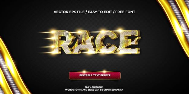 Effet de texte modifiable de luxe course or style de texte 3d