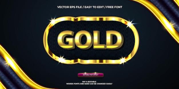 Effet de texte modifiable de luxe en or style de texte 3d