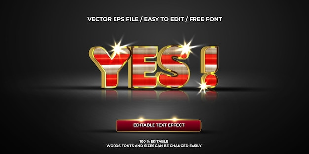 Effet de texte modifiable de luxe oui ! style de texte 3d