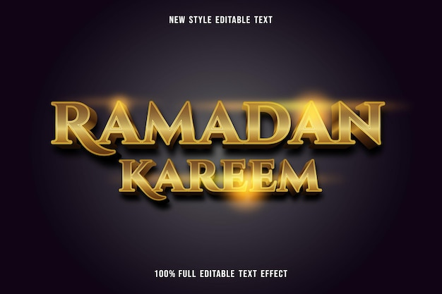 Effet de texte modifiable de luxe ramadan kareem couleur or et marron