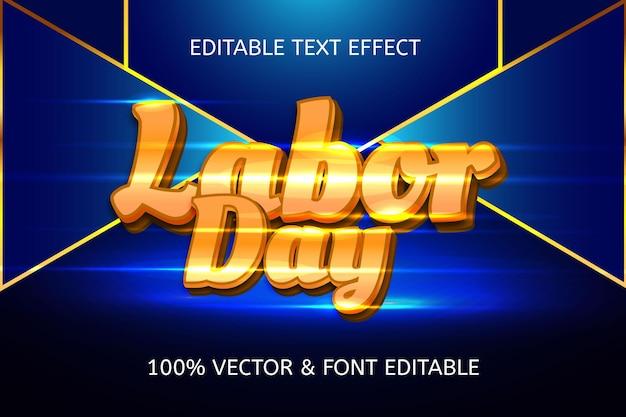 Effet de texte modifiable de luxe de style fête du travail