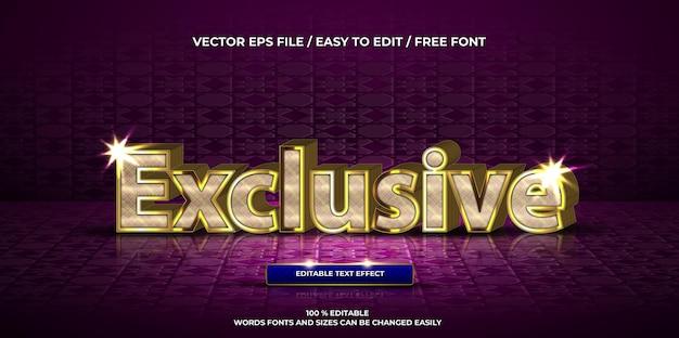 Effet de texte modifiable de luxe style de texte 3d or exclusif