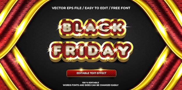 Effet de texte modifiable de luxe vendredi noir or style de texte 3d