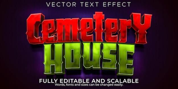 Effet de texte modifiable de la maison du cimetière sang et style de texte zombie