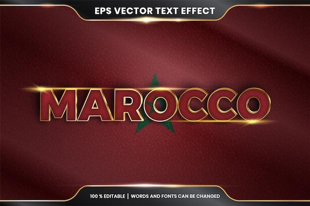 Effet de texte modifiable - maroc avec son drapeau national