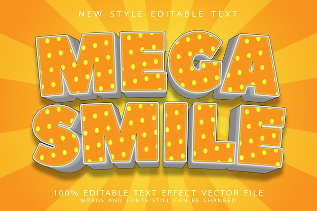 Effet de texte modifiable mega smile en relief style moderne