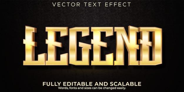 Effet de texte modifiable métallique, légende et style de texte brillant