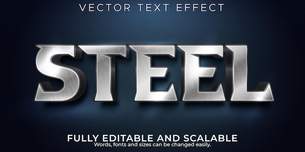 Effet de texte modifiable métallique, style de texte en fer et argent