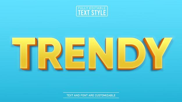 Effet de texte modifiable à la mode jaune 3d