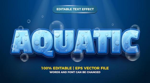 Effet de texte modifiable - modèle 3d de style dessin animé aquatique