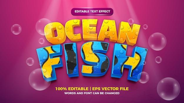 Effet de texte modifiable - modèle 3d de style mignon de poisson de mer sur fond de mer profonde