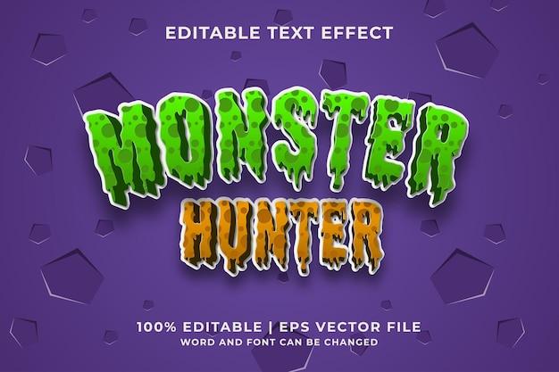 Effet de texte modifiable - modèle de style monster hunter 3d. vecteur premium