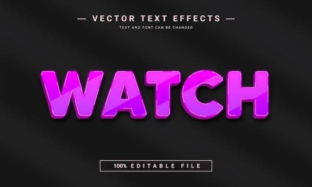 Effet de texte modifiable de la montre 3d brillante