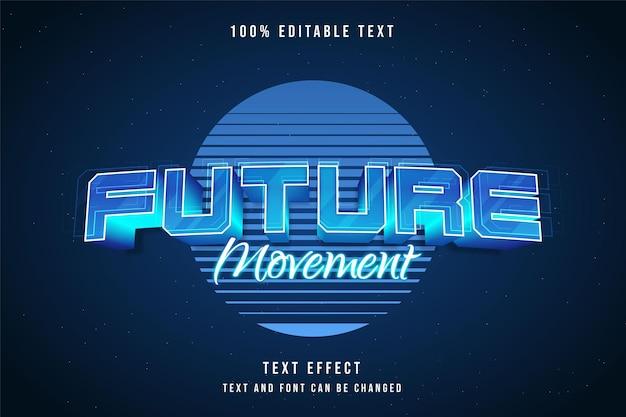 Effet De Texte Modifiable De Mouvement Futur Avec Dégradé Bleu Vecteur Premium