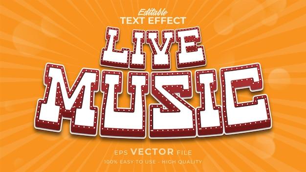Effet de texte modifiable de musique live