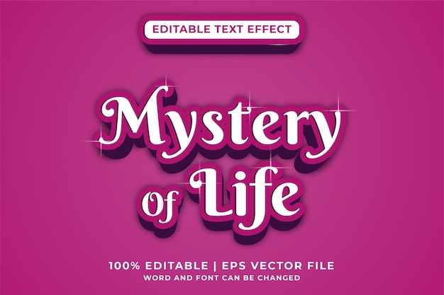 Effet de texte modifiable mystère de la vie de style moderne vecteur premium