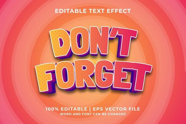 Effet de texte modifiable - n'oubliez pas le vecteur premium de style de modèle 3d