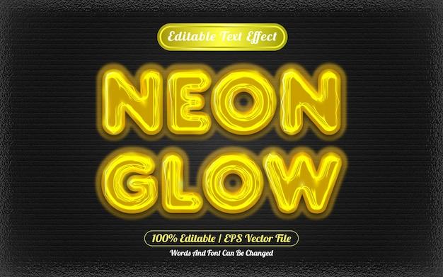 Effet de texte modifiable neon glow sur le thème de la lumière