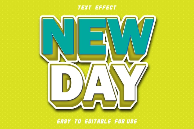 Effet de texte modifiable new day emboss style moderne