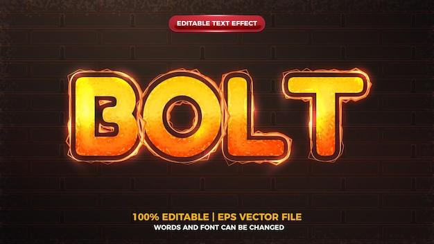 Effet de texte modifiable d'onde électrique orange d'énergie de boulon