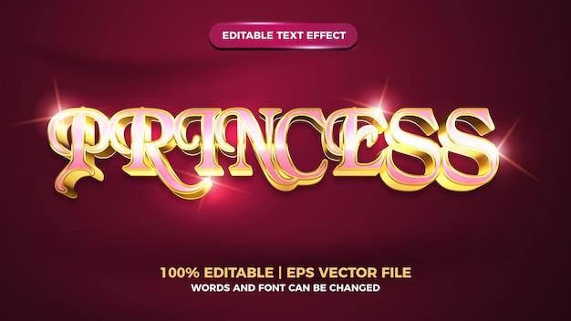 Effet de texte modifiable en or 3d de luxe de princesse brillante