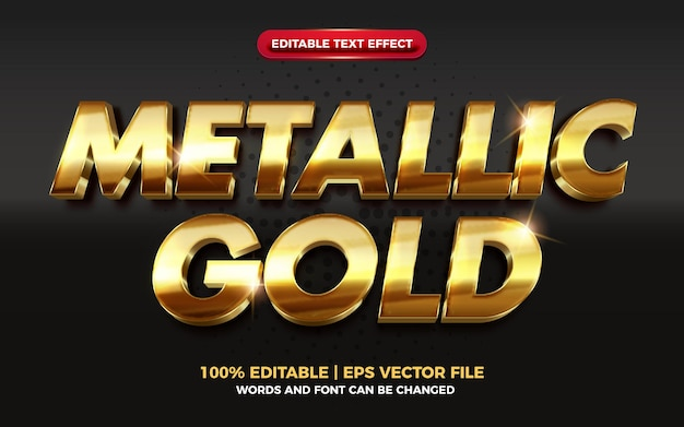Effet de texte modifiable en or métallique brillant 3d