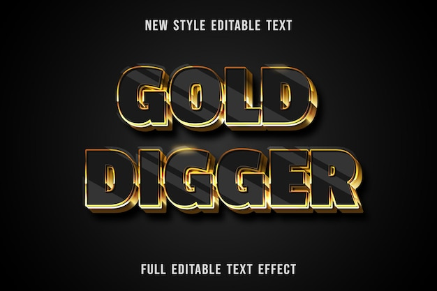 Effet de texte modifiable or pelleteuse couleur noir et or