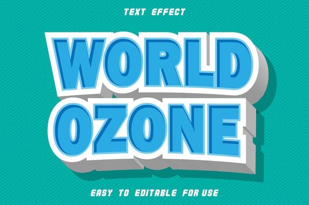 Effet de texte modifiable de l'ozone du monde gaufrer le style moderne