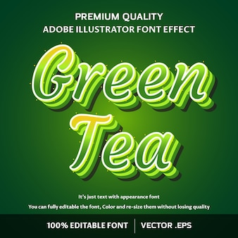 Effet de texte modifiable par script de thé vert élégant