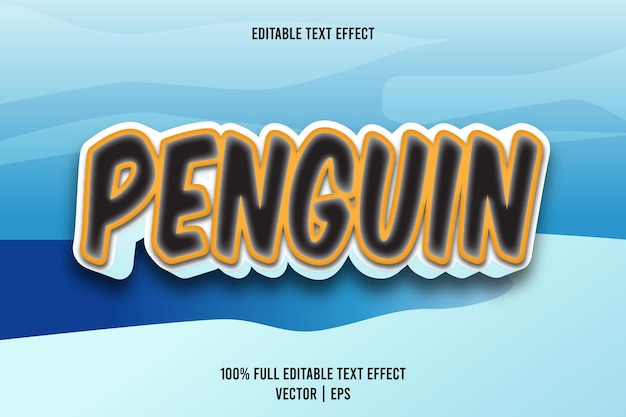 Effet de texte modifiable de pingouin style de dessin animé en relief en 3 dimensions