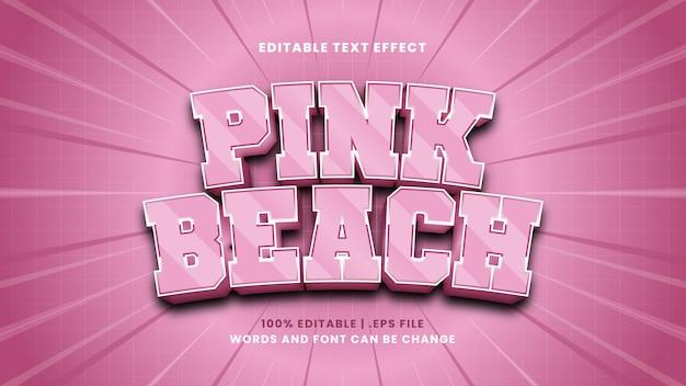 Effet de texte modifiable de plage rose dans un style 3d moderne